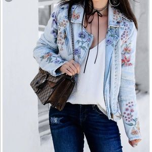 Blank nyc floral denim jacket